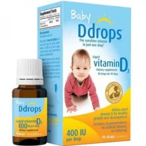 美國 Baby Ddrops 400iu 嬰兒維生素D3滴劑2.5mL(藍色)